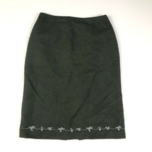 Neiman Marcus Olive Wool Embroidered Floral Skirt